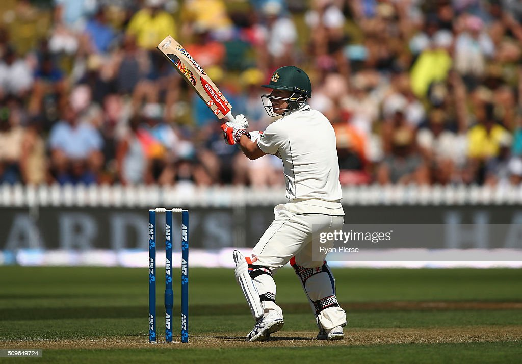 <a gi-track='captionPersonalityLinkClicked' href=/galleries/search?phrase=David+Warner+-+Cricketspelare&family=editorial&specificpeople=4262255 ng-click='$event.stopPropagation()'>David Warner</a> of Australia plays a shot at is cuaght by BJ Watling of New Zealand off the bowling of Tim Southee of New Zealand during day one of the Test match between New Zealand and Australia at Basin Reserve on February 12, 2016 in Wellington, New Zealand.