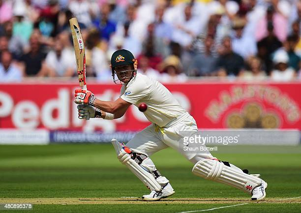 David Warner of Australia plays a shot during day one of the 2nd Investec Ashes Test match between England and Australia at Lord's Cricket Ground on...