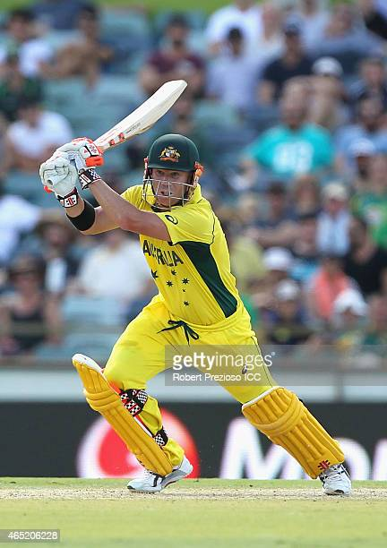 David Warner of Australia plays a shot during the 2015 ICC Cricket World match between Australia and Afghanistan at WACA on March 4 2015 in Perth...