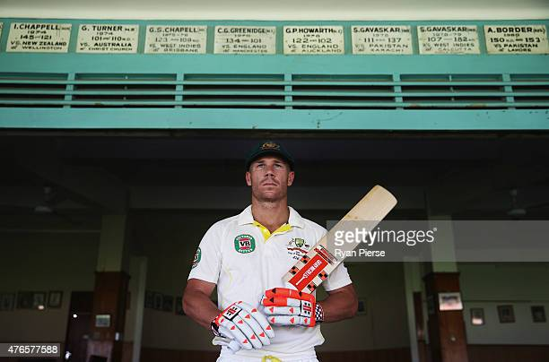 David Warner of Australia poses at the Kingston Cricket Club at Sabina Park on June 10 2015 in Kingston Jamaica