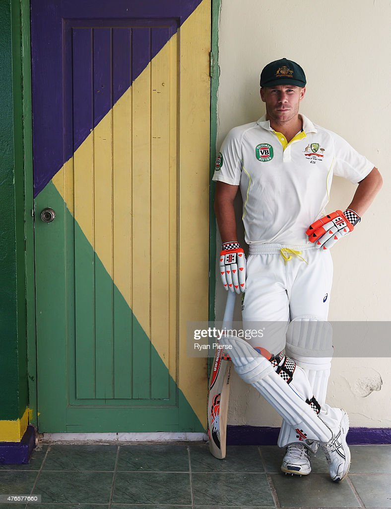 David Warner of Australia poses at the Kingston Cricket Club at Sabina Park on June 10, 2015 in Kingston, Jamaica.