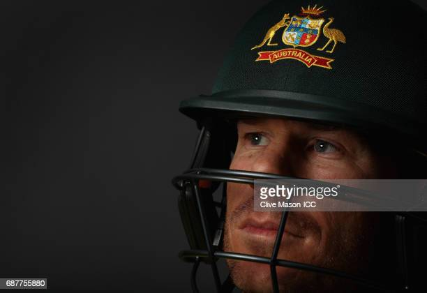 David Warner of Australia poses during a portrait session ahead of the ICC Champions Trophy at the Royal Garden Hotel on May 24 2017 in London England