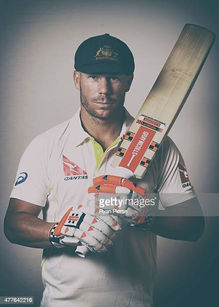 David Warner of Australia poses during an Australian Cricket Team Ashes portrait session on June 1 2015 in Roseau Dominica