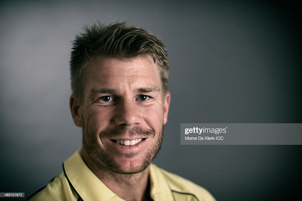 David Warner of Australia poses during the Australia 2015 ICC Cricket World Cup Headshots Session at the Intercontinental on February 7, 2015 in Adelaide, Australia.
