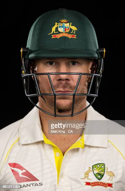 David Warner of Australia poses during the Australia Test cricket team portrait session at Intercontinental Double Bay on October 15 2017 in Sydney...