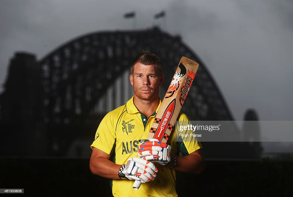 <a gi-track='captionPersonalityLinkClicked' href=/galleries/search?phrase=David+Warner+-+Cricket&family=editorial&specificpeople=4262255 ng-click='$event.stopPropagation()'>David Warner</a> of Australia poses during the Australian 2015 Cricket World Cup squad announcement at Museum of Contemporary Art on January 11, 2015 in Sydney, Australia.
