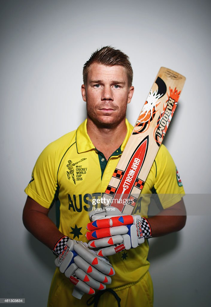 <a gi-track='captionPersonalityLinkClicked' href=/galleries/search?phrase=David+Warner+-+Cricketspelare&family=editorial&specificpeople=4262255 ng-click='$event.stopPropagation()'>David Warner</a> of Australia poses during the Australian 2015 Cricket World Cup squad announcement at Museum of Contemporary Art on January 11, 2015 in Sydney, Australia.