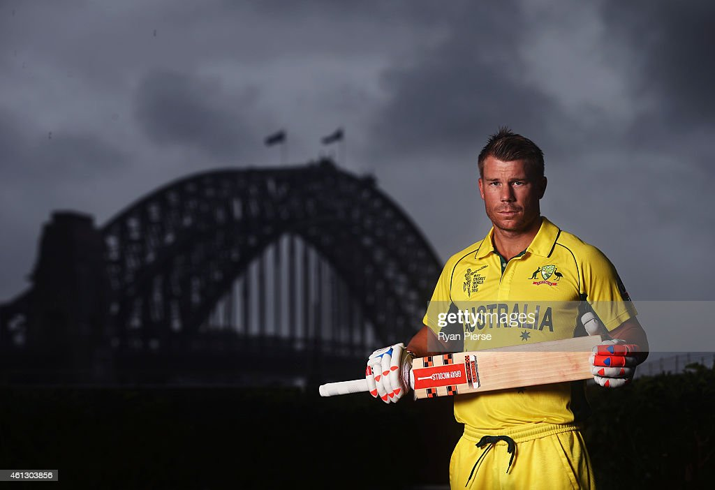 <a gi-track='captionPersonalityLinkClicked' href=/galleries/search?phrase=David+Warner+-+Cricketspeler&family=editorial&specificpeople=4262255 ng-click='$event.stopPropagation()'>David Warner</a> of Australia poses during the Australian 2015 Cricket World Cup squad announcement at Museum of Contemporary Art on January 11, 2015 in Sydney, Australia.