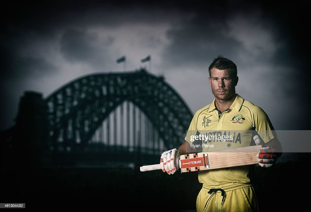 David Warner of Australia poses during the Australian 2015 Cricket World Cup squad announcement at Museum of Contemporary Art on January 11, 2015 in Sydney, Australia.