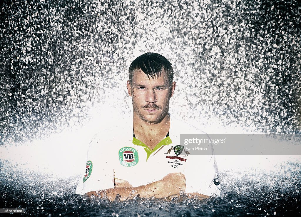 David Warner of Australia poses on October 21, 2014 in Dubai, United Arab Emirates.
