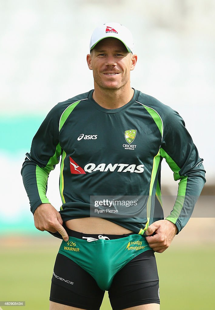 <a gi-track='captionPersonalityLinkClicked' href=/galleries/search?phrase=David+Warner+-+Cricketspeler&family=editorial&specificpeople=4262255 ng-click='$event.stopPropagation()'>David Warner</a> of Australia prepares to bat during a nets session ahead of the 4th Investec Ashes Test match between England and Australia at Trent Bridge on August 4, 2015 in Nottingham, United Kingdom.