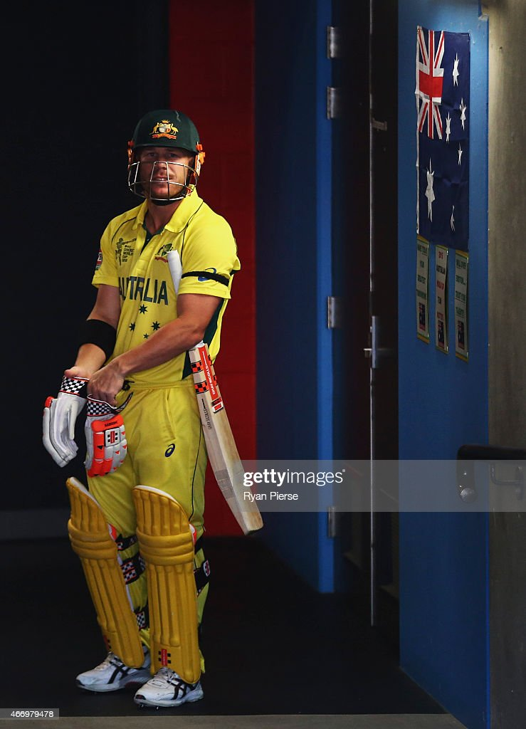 <a gi-track='captionPersonalityLinkClicked' href=/galleries/search?phrase=David+Warner+-+Cricketspelare&family=editorial&specificpeople=4262255 ng-click='$event.stopPropagation()'>David Warner</a> of Australia prepares to walk out to bat during the 2015 ICC Cricket World Cup match between Australian and Pakistan at Adelaide Oval on March 20, 2015 in Adelaide, Australia.