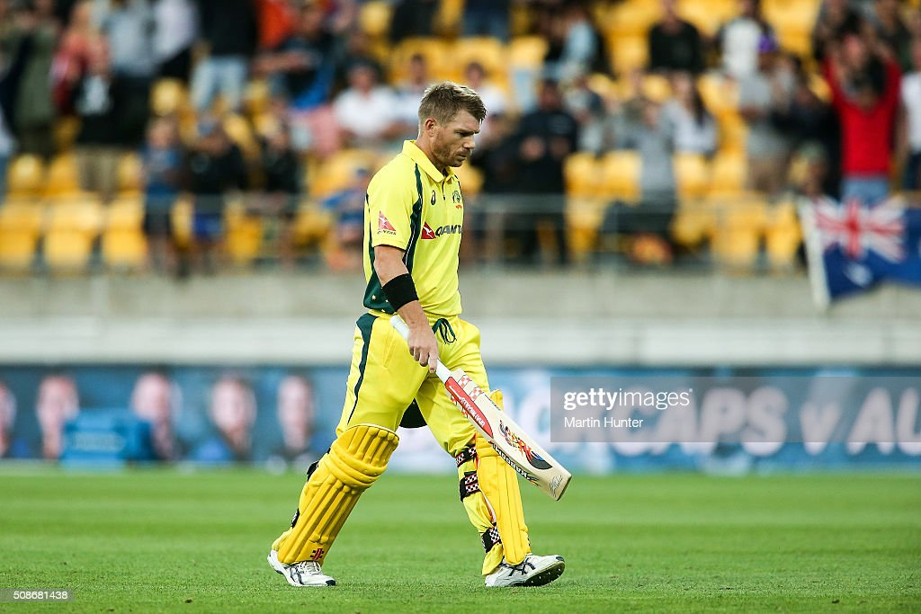 <a gi-track='captionPersonalityLinkClicked' href=/galleries/search?phrase=David+Warner+-+Cricketer&family=editorial&specificpeople=4262255 ng-click='$event.stopPropagation()'>David Warner</a> of Australia reacts after being given out LBW on 98 runs during game two of the one day international series between New Zealand and Australia at Westpac Stadium on February 6, 2016 in Wellington, New Zealand.