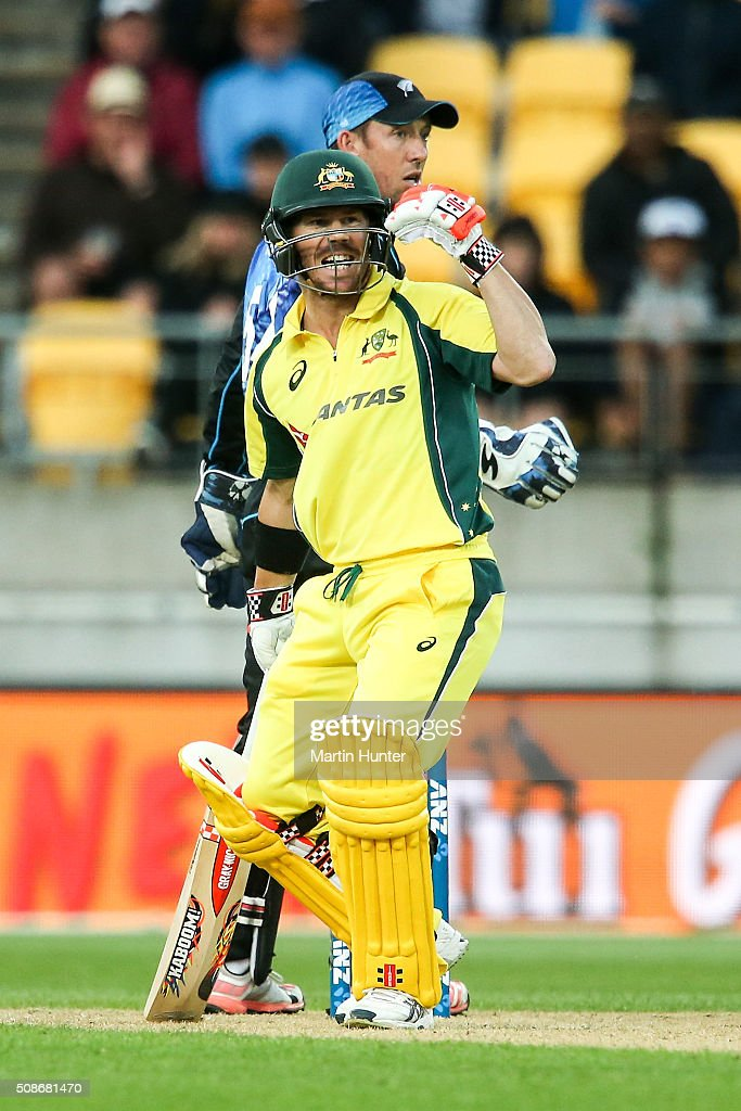 <a gi-track='captionPersonalityLinkClicked' href=/galleries/search?phrase=David+Warner+-+Cricket+Player&family=editorial&specificpeople=4262255 ng-click='$event.stopPropagation()'>David Warner</a> of Australia reacts after being given out LBW on 98 runs during game two of the one day international series between New Zealand and Australia at Westpac Stadium on February 6, 2016 in Wellington, New Zealand.