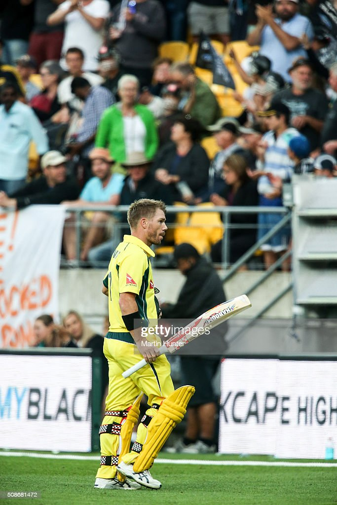 <a gi-track='captionPersonalityLinkClicked' href=/galleries/search?phrase=David+Warner+-+Cricket&family=editorial&specificpeople=4262255 ng-click='$event.stopPropagation()'>David Warner</a> of Australia reacts after being given out LBW on 98 runs during game two of the one day international series between New Zealand and Australia at Westpac Stadium on February 6, 2016 in Wellington, New Zealand.
