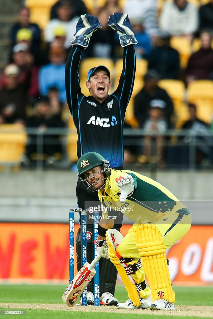 David Warner of Australia reacts after being given out LBW on 98 runs during game two of the one day international series between New Zealand and Australia at Westpac Stadium on February 6, 2016 in Wellington, New Zealand.