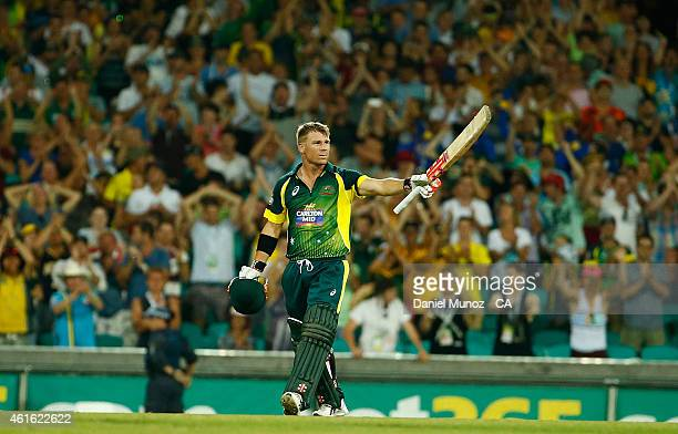 David Warner of Australia reacts after getting his century during the One Day International series match between Australia and England at Sydney...