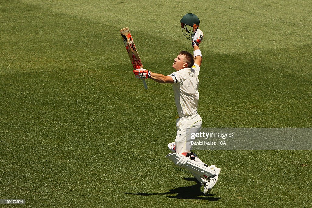 <a gi-track='captionPersonalityLinkClicked' href=/galleries/search?phrase=David+Warner+-+Cricketer&family=editorial&specificpeople=4262255 ng-click='$event.stopPropagation()'>David Warner</a> of Australia reacts after scoring his century during day one of the First Test match between Australia and India at Adelaide Oval on December 9, 2014 in Adelaide, Australia.