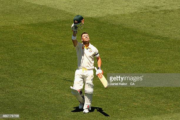 David Warner of Australia reacts after scoring his century during day one of the First Test match between Australia and India at Adelaide Oval on...
