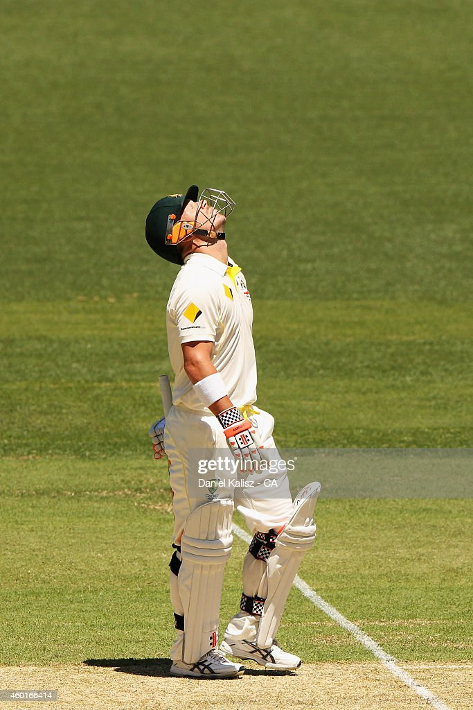<a gi-track='captionPersonalityLinkClicked' href=/galleries/search?phrase=David+Warner+-+Cricket+Player&family=editorial&specificpeople=4262255 ng-click='$event.stopPropagation()'>David Warner</a> of Australia reacts after scoring his half century during day one of the First Test match between Australia and India at Adelaide Oval on December 9, 2014 in Adelaide, Australia.