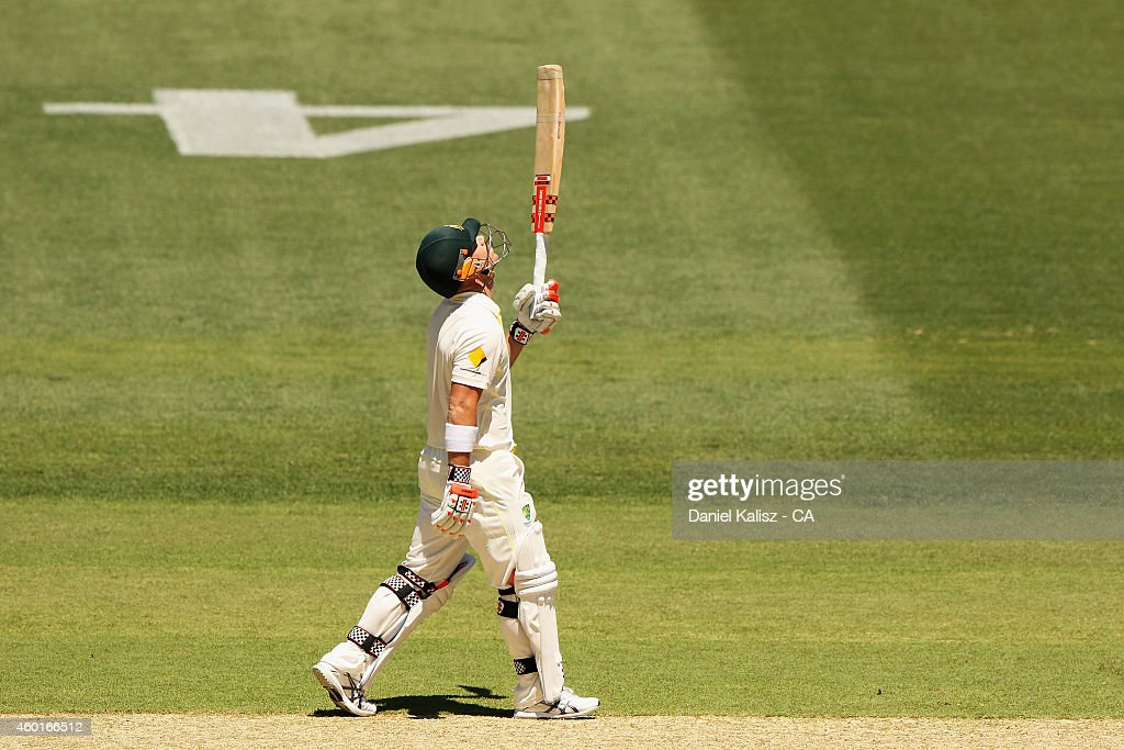 <a gi-track='captionPersonalityLinkClicked' href=/galleries/search?phrase=David+Warner+-+Cricketer&family=editorial&specificpeople=4262255 ng-click='$event.stopPropagation()'>David Warner</a> of Australia reacts after scoring his half century during day one of the First Test match between Australia and India at Adelaide Oval on December 9, 2014 in Adelaide, Australia.