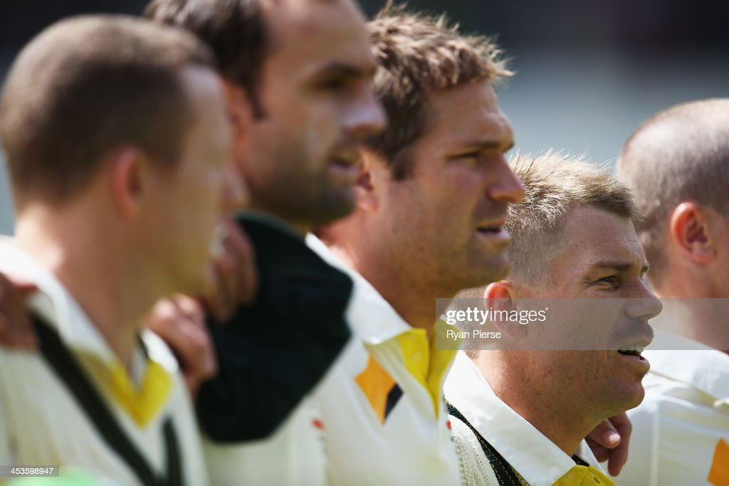 David Warner of Australia sings the national anthem during day one of the Second Ashes Test Match between Australia and England at Adelaide Oval on December 5, 2013 in Adelaide, Australia.