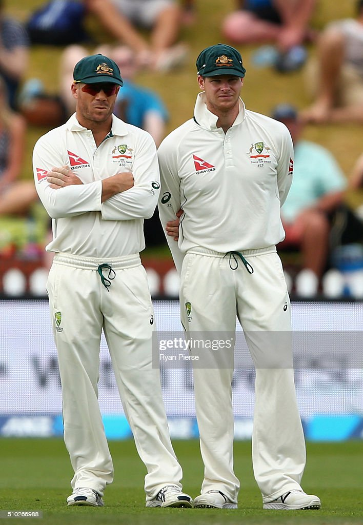 <a gi-track='captionPersonalityLinkClicked' href=/galleries/search?phrase=David+Warner+-+Cricketer&family=editorial&specificpeople=4262255 ng-click='$event.stopPropagation()'>David Warner</a> of Australia speaks with Steve Smith of Australia during day four of the Test match between New Zealand and Australia at Basin Reserve on February 15, 2016 in Wellington, New Zealand.