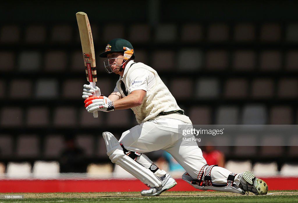 David Warner of Australia switch hits for four during day four of the First Test match between Australia and Sri Lanka at Blundstone Arena on December 17, 2012 in Hobart, Australia.
