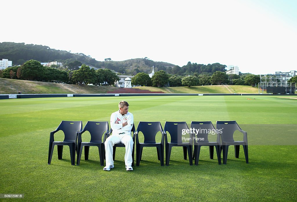 David Warner of Australia waits for the team photo during an Australian nets session at Basin Reserve on February 11, 2016 in Wellington, New Zealand.
