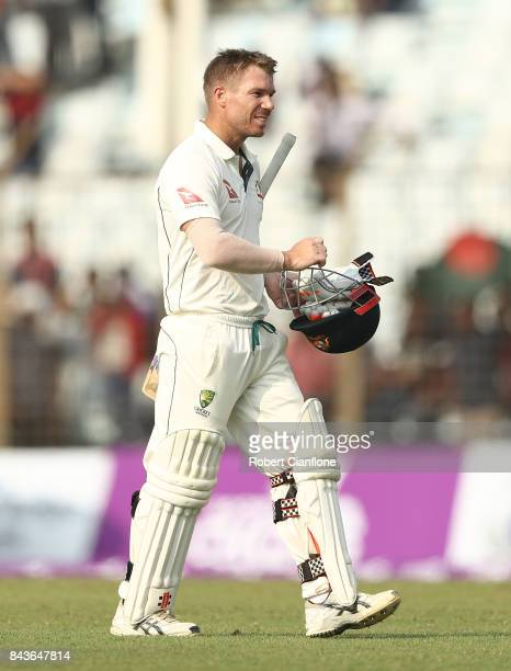 David Warner of Australia walks off after he was dismissed during day four of the Second Test match between Bangladesh and Australia at Zahur Ahmed...