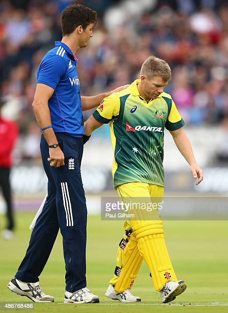David Warner of Australia walks off after picking up an injury from the bowling of Steven Finn of England during the 2nd Royal London OneDay...