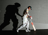 David Warner of Australia walks out to bat during day four of the Third Test match between Australia and India at Melbourne Cricket Ground on...