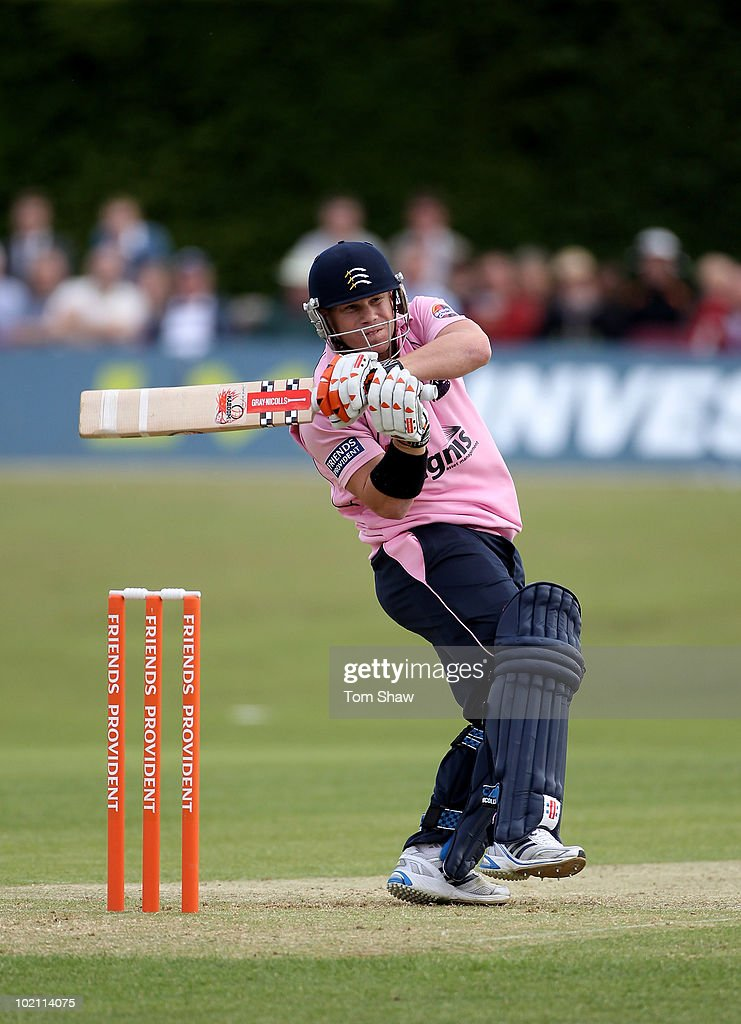 David Warner of Middlesex hits out during the Friends Provident T20 match between Middlesex and Glamorgan at Old Deer Park on June 15, 2010 in Richmond upon Thames, England.