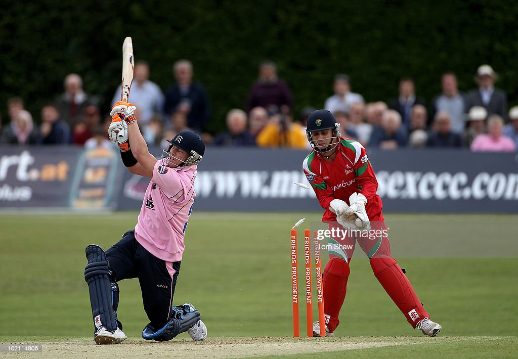 David Warner of Middlesex is bowled out during the Friends Provident T20 match between Middlesex and Glamorgan at Old Deer Park on June 15, 2010 in Richmond upon Thames, England.
