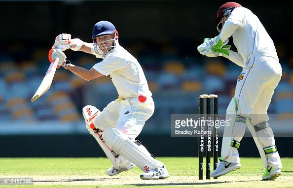 David Warner of New South Wales plays a shot during day three of the Sheffield Shield match between Queensland and New South Wales at The Gabba on...