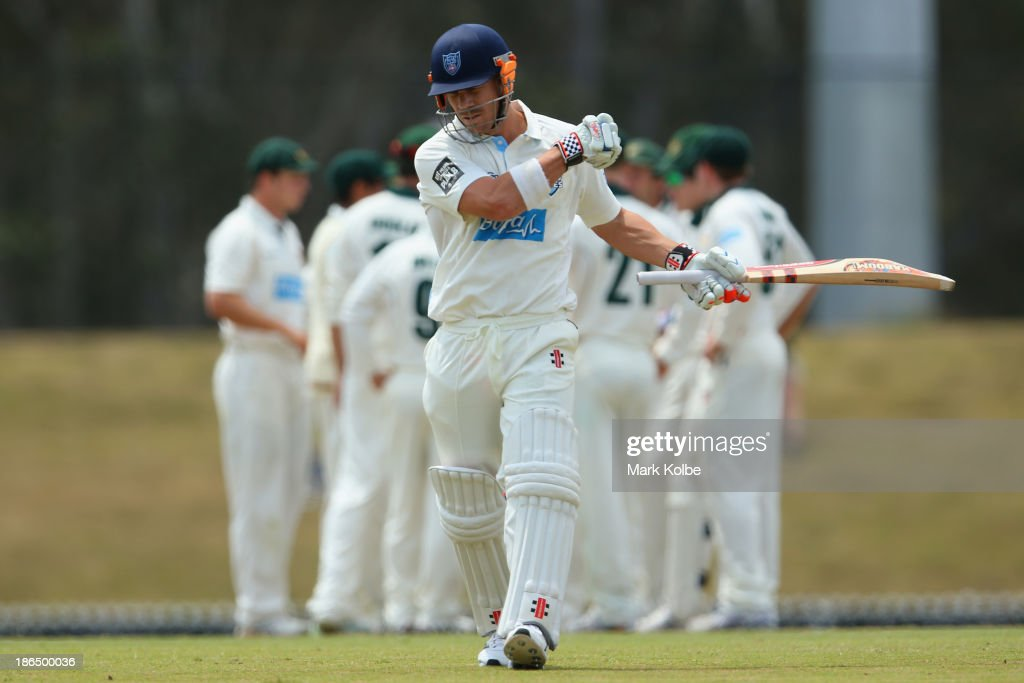 David Warner of the Blues looks dejected as leaves the field after being dismissed during day three of the Sheffield Shield match between the New South Wales Blues and the Tasmania Tigers at Blacktown International Sportspark on November 1, 2013 in Sydney, Australia.