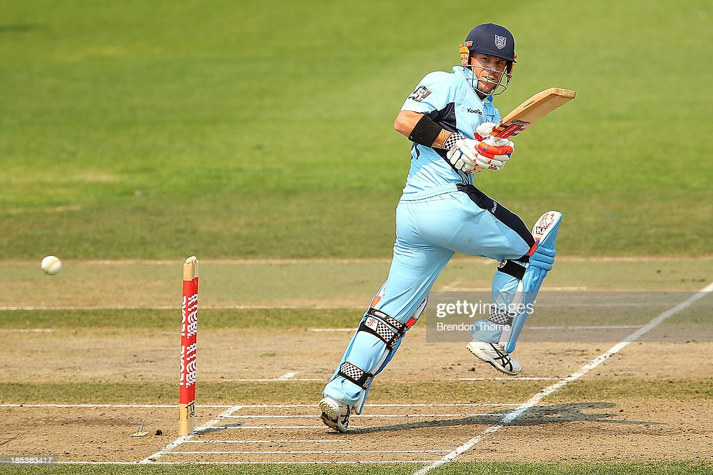 David Warner of the Blues plays a stoke on the leg side during the Ryobi Cup match between the New South Wales Blues and the Victorian Bushrangers at North Sydney Oval on October 20, 2013 in Sydney, Australia.