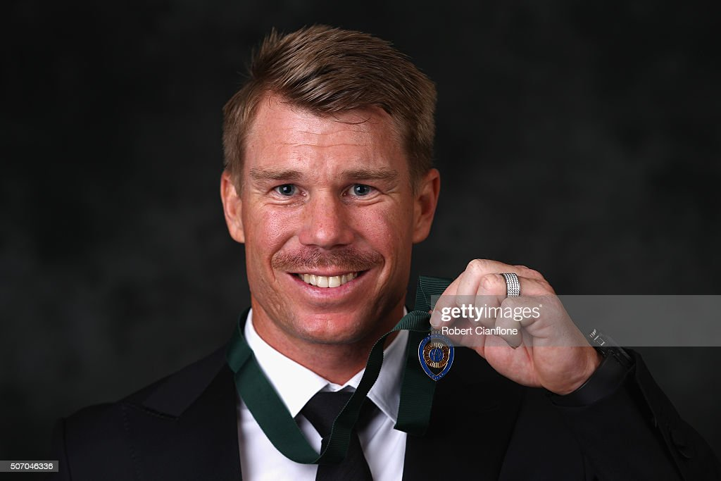<a gi-track='captionPersonalityLinkClicked' href=/galleries/search?phrase=David+Warner+-+Cricket&family=editorial&specificpeople=4262255 ng-click='$event.stopPropagation()'>David Warner</a> poses after winning the Allan Border medal at the 2016 Allan Border Medal ceremony at Crown Palladium on January 27, 2016 in Melbourne, Australia.