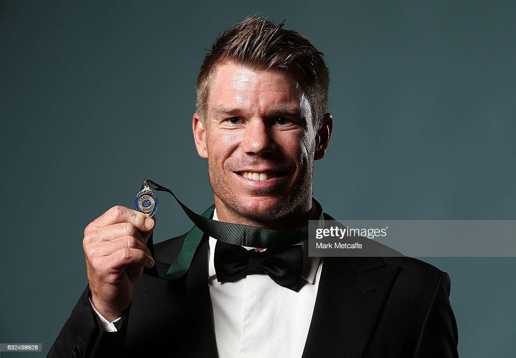 David Warner poses after winning the Allan Border Medal during the 2017 Allan Border Medal at The Star on January 23, 2017 in Sydney, Australia.