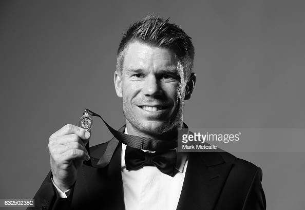 David Warner poses after winning the Allan Border Medal during the 2017 Allan Border Medal at The Star on January 23 2017 in Sydney Australia