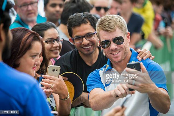 David Warner signing autographs during the Commonwealth Bank Test Series Launch at Queen Street Mall on December 11 2016 in Brisbane Australia