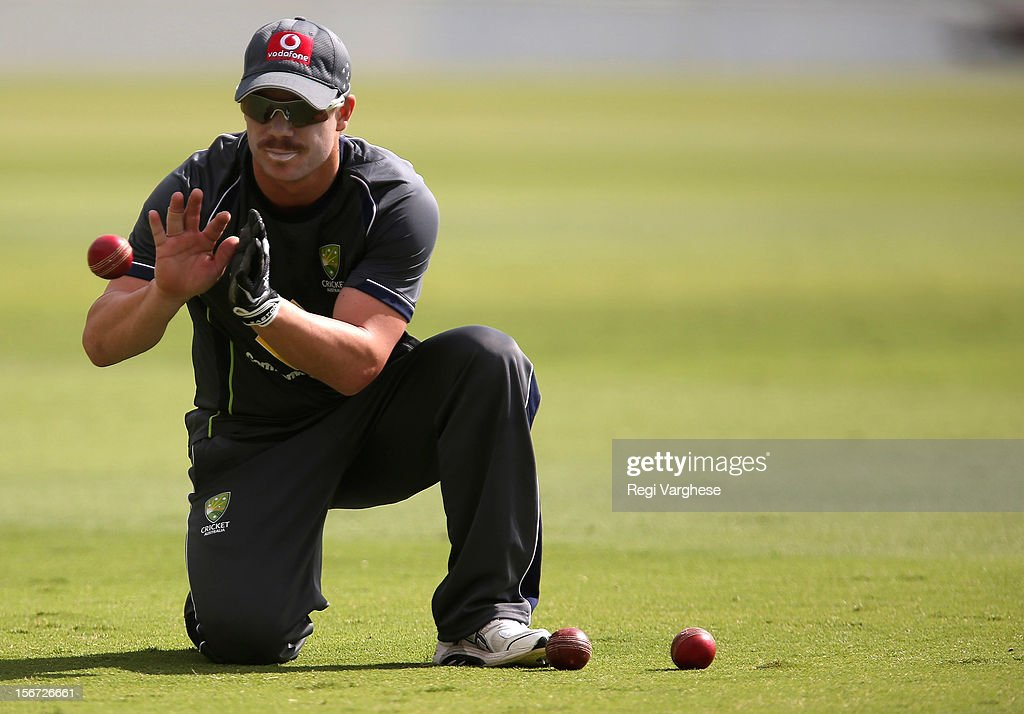 David Warner takes a catch during an Australian training session at Adelaide Oval on November 20, 2012 in Adelaide, Australia.