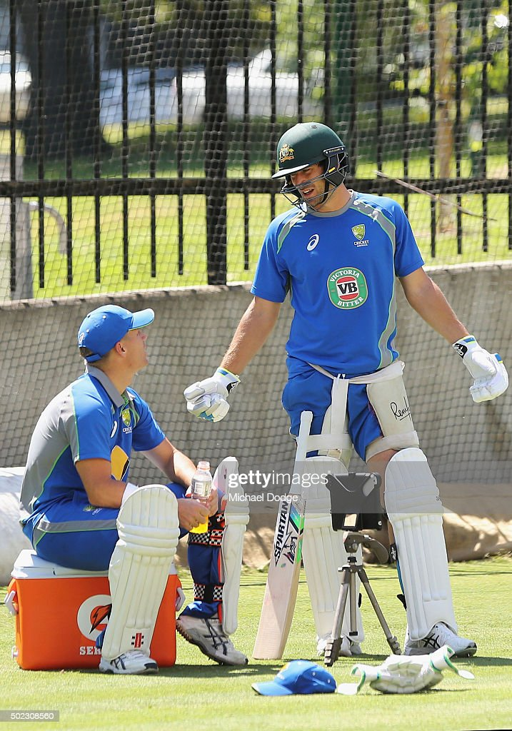 <a gi-track='captionPersonalityLinkClicked' href=/galleries/search?phrase=David+Warner+-+Cricket+Player&family=editorial&specificpeople=4262255 ng-click='$event.stopPropagation()'>David Warner</a> (L) talks to <a gi-track='captionPersonalityLinkClicked' href=/galleries/search?phrase=Joe+Burns+-+Cricket+Player&family=editorial&specificpeople=15039111 ng-click='$event.stopPropagation()'>Joe Burns</a> who came back to the nets after earlier being hit on the helmet by a Scott Boland delivery during an Australian nets session at the Melbourne Cricket Ground on December 23, 2015 in Melbourne, Australia.