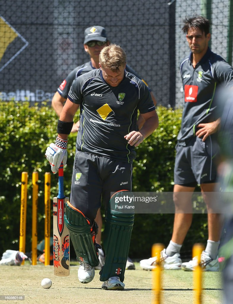 David Warner walks from the nets after being struck on the left hand by Mitchell Johnson during an Australian One Day International training session at WACA on January 30, 2013 in Perth, Australia.