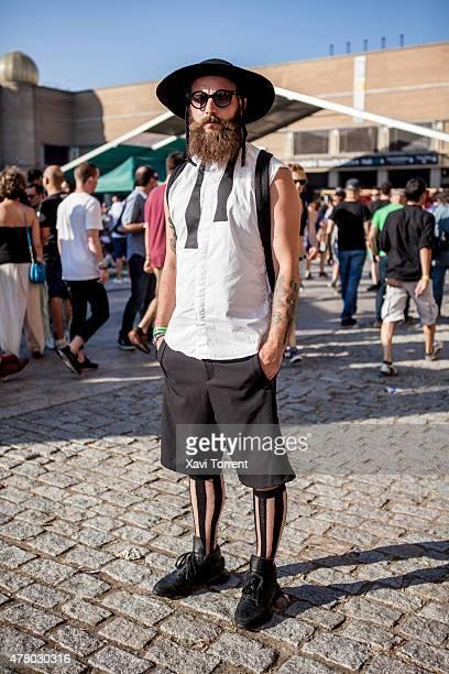 David wears Martin Margiela shirt Zara pants KTZ socks Rick Owens shoes and Elisabeth Carlota hat during Sonar Music Festival on June 20 2015 in...