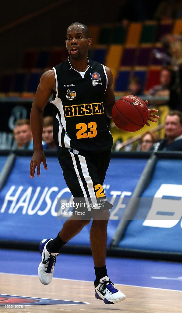 David Weaver of Ludwigsburg runs with the ball during the Beko BBL basketball match between Eisbaeren Bremerhaven and Nackar RIESEN Ludwigsburg at the Stadthalle on November 4, 2012 in Bremerhaven, Germany.