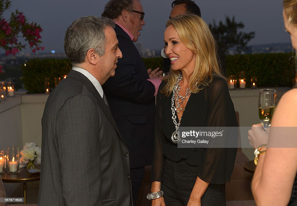 David Webb's Mark Emanuel and Brooke Davenport attend the David Webb Dinner in honor of LAXART at Sunset Tower on May 1, 2013 in West Hollywood, California.