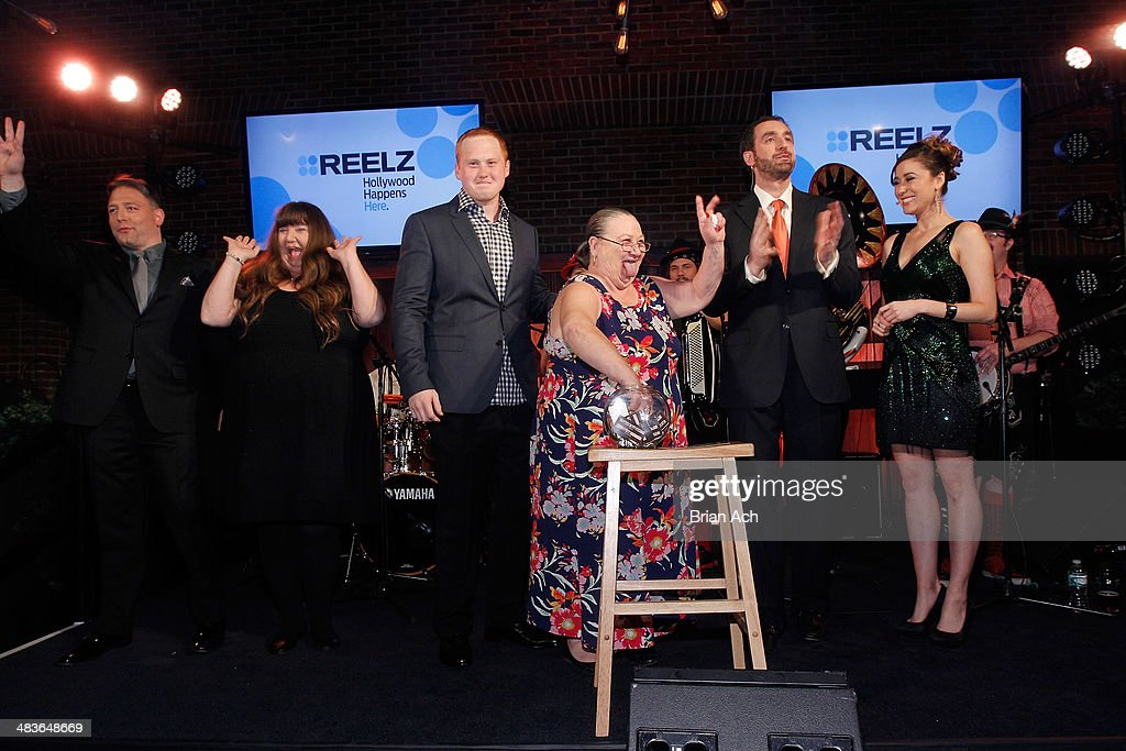 David Weintraub, Dee Dee Peters, Michael Kittrell, and Delores Hughes of Hollywood Hillbillies, Senior Vice President of Advertising Sales at Reelz Bill Rosolie and TV personality Julie Alexandria appear onstage at the REELZ Channel upfront presentation at Hudson Hotel on April 9, 2014 in New York City.
