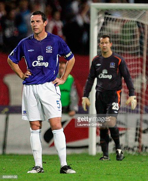 David Weir and Nigel Martyn of Everton show their dissapointment after conceding the first goal during the UEFA Cup First Round First Leg match...