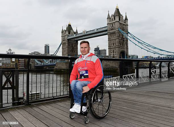 David Weir of Great Britain attends a photocall ahead of the Virgin Money London Marathon at The Tower Hotel on April 22 2016 in London England